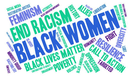 Black Women word cloud on a white background.  イラスト・ベクター素材