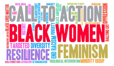 intervention: Black Women word cloud on a white background. Illustration