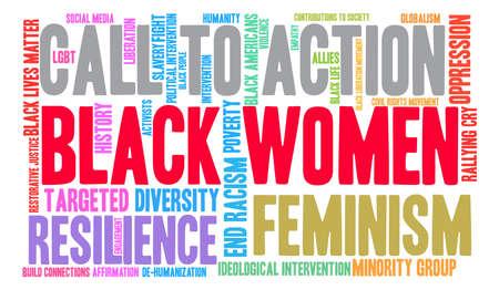 Las mujeres negras nube de palabras sobre un fondo blanco.
