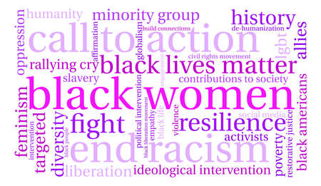 rallying: Black Women word cloud on a white background. Illustration