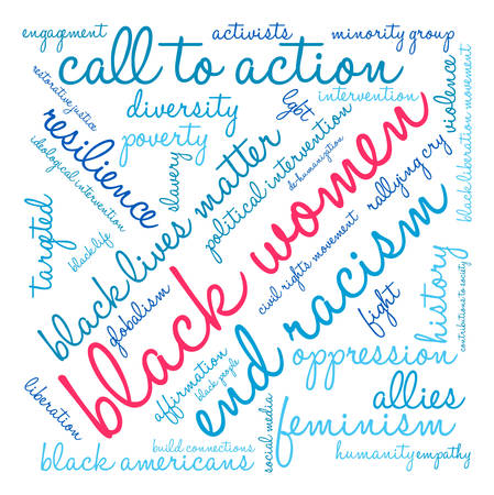 activists: Black Women word cloud on a white background. Illustration