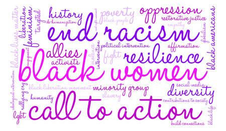 call history: Black Women word cloud on a white background. Illustration