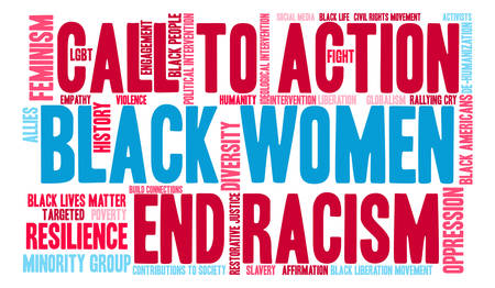 Black Women word cloud on a white background. Illustration