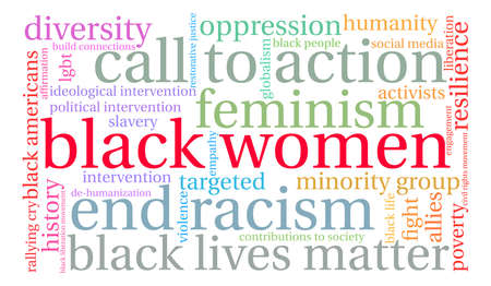 social history: Black Women word cloud on a white background. Illustration