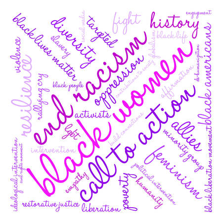 globalism: Black Women word cloud on a white background. Illustration
