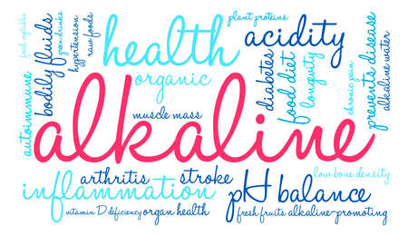chronic inflammation: Alkaline word cloud on a white background.