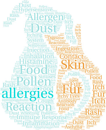 Allergieën woord wolk op een witte achtergrond. Stock Illustratie