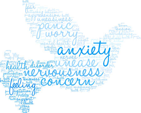 Anxiety word cloud on a white background. Illusztráció
