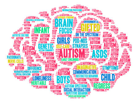 白い背景に自閉症の単語雲。 写真素材 - 94755692
