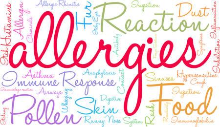 Allergien Wortwolke auf einem weißen Hintergrund.