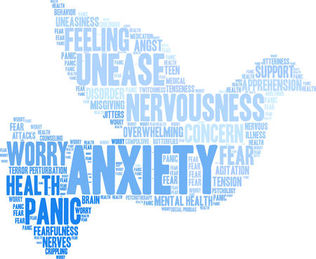 unease: Anxiety word cloud on a white background. Illustration