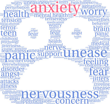 nervousness: Anxiety word cloud on a white background. Illustration