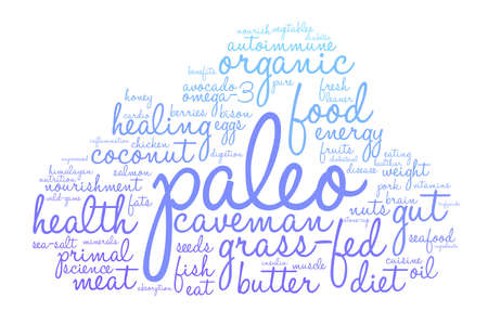 Paleo word cloud on a white background.