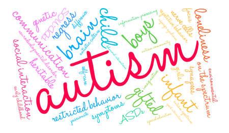 白い背景に自閉症の単語雲。