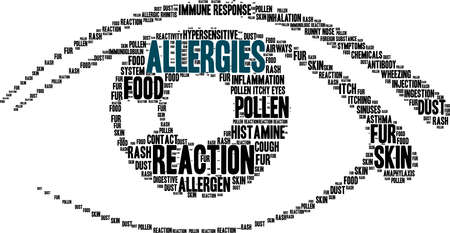 Allergies word cloud on a white background.