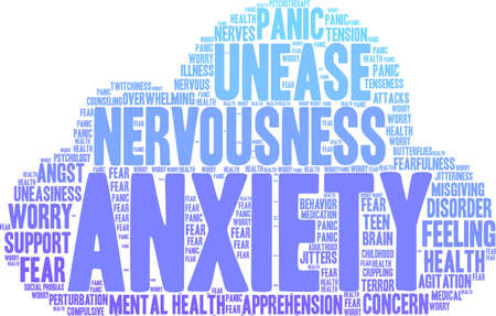 apprehension: Anxiety word cloud on a white background. Illustration