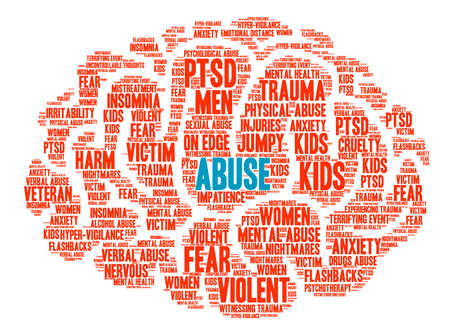 worried man: Abuse Brain word cloud on a white background. Illustration