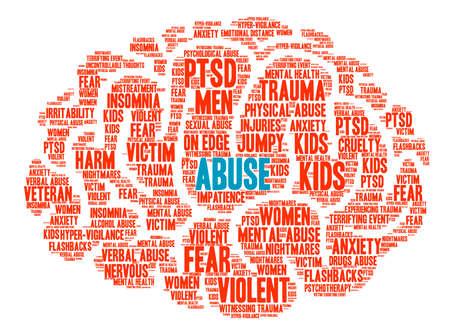 Cerebro de abuso nube de palabras sobre un fondo blanco. Foto de archivo - 67347262