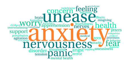 adolescent: Anxiety word cloud on a white background. Illustration