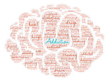memory drugs: Addiction Brain word cloud on a white background.