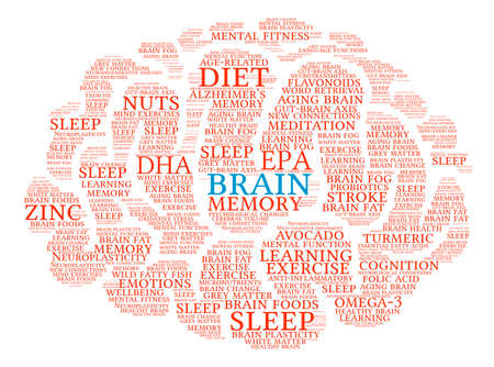 Brain word cloud on a white background. Çizim