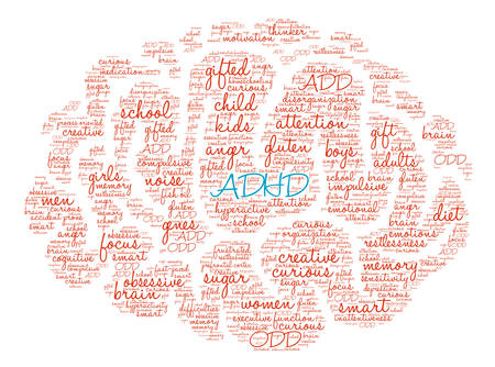 restlessness: ADHD Brain word cloud on a white background.