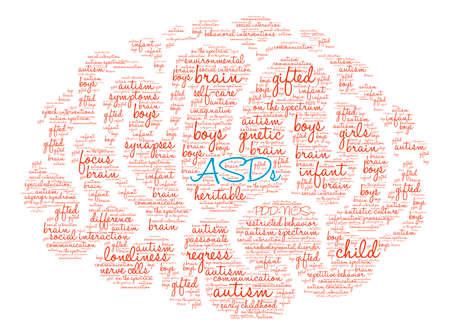 白い背景に ASDs 脳の単語の雲。
