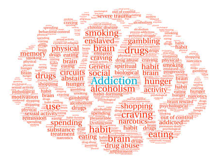 remission: Addiction Brain word cloud on a white background.