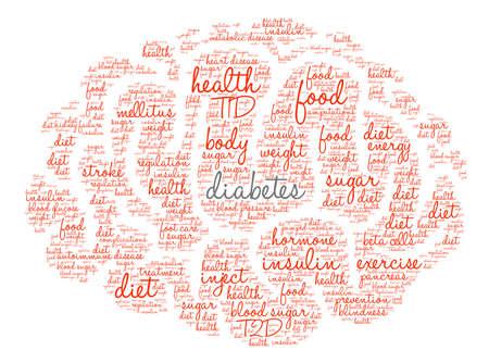 Diabetes word cloud on a white background. Ilustração