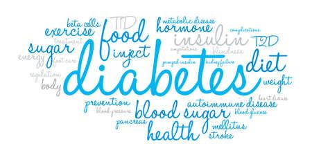 白の背景に糖尿病の単語の雲。