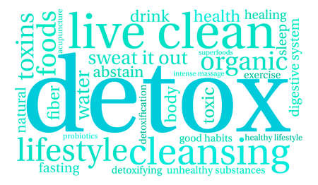 Detox word cloud on a white background. Stok Fotoğraf - 67347509