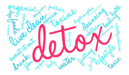 detoxification: Detox word cloud on a white background.