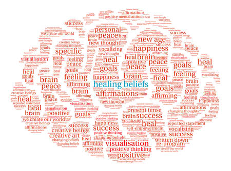Healing Beliefs Brain word cloud on a white background. Illustration