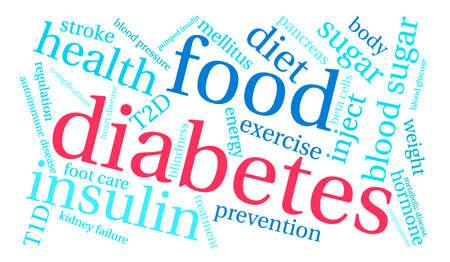 Diabetes word cloud on a white background. Иллюстрация