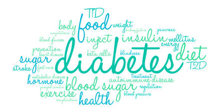Diabetes word cloud on a white background. Ilustração