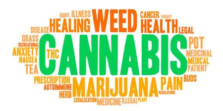 pasto sintetico: El cannabis nube de palabras sobre un fondo blanco.