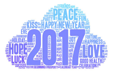 fireworks 'hope fireworks: Happy New Year 2017 word cloud on a white background.