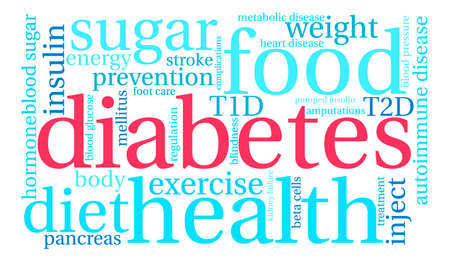 Diabetes word cloud on a white background. Illustration