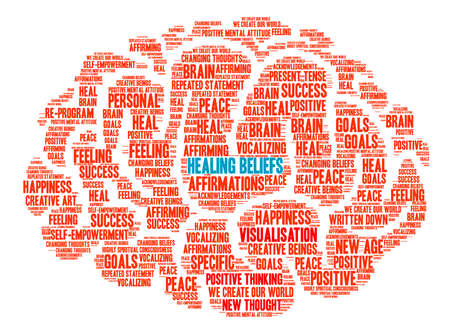 Healing Beliefs Brain word cloud on a white background. Vettoriali