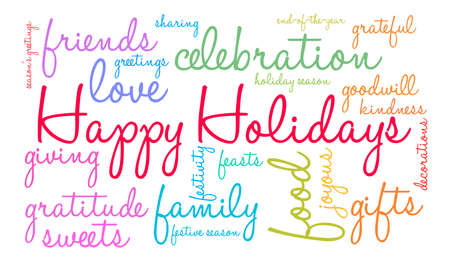 HappyHolidays word cloud on a white background.