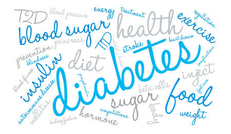 Diabetes word cloud on a white background.  イラスト・ベクター素材