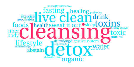 food poison: Cleansing word cloud on a white background.