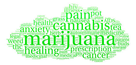 oppose: Marijuana word cloud on a white background. Illustration