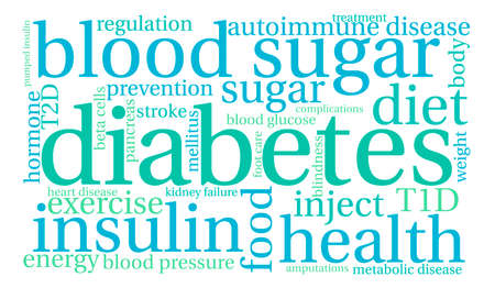 beta cells: Diabetes word cloud on a white background. Illustration