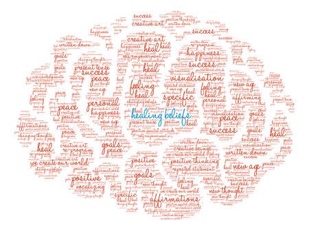 Healing Beliefs Brain word cloud on a white background. Ilustrace
