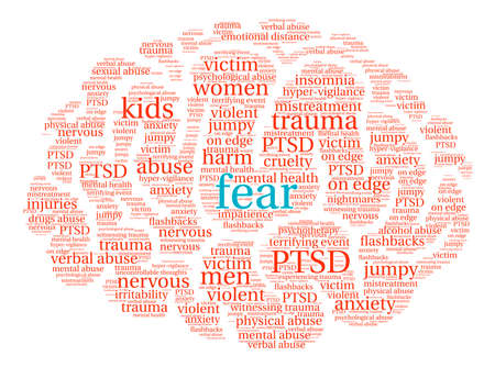 alcohol abuse: Fear Brain word cloud on a white background. Illustration
