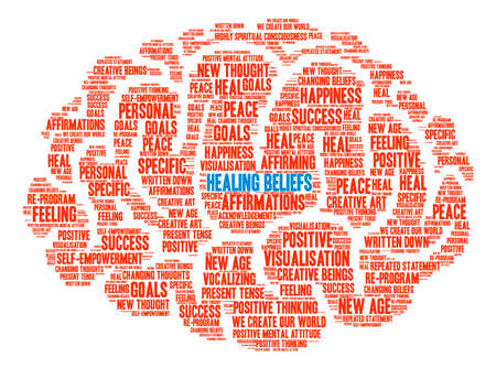 spiritual beings: Healing Beliefs Brain word cloud on a white background. Illustration