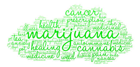 Marijuana word cloud on a white background.  イラスト・ベクター素材