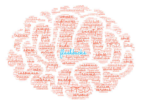 Flashbacks Brain Word Cloud on a white background. Ilustração