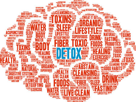 Detox word cloud on a white background. Stok Fotoğraf - 67347859